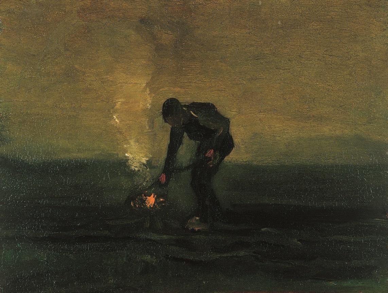 Vincent van Gogh, Onkruid verbrandende boer, 1883